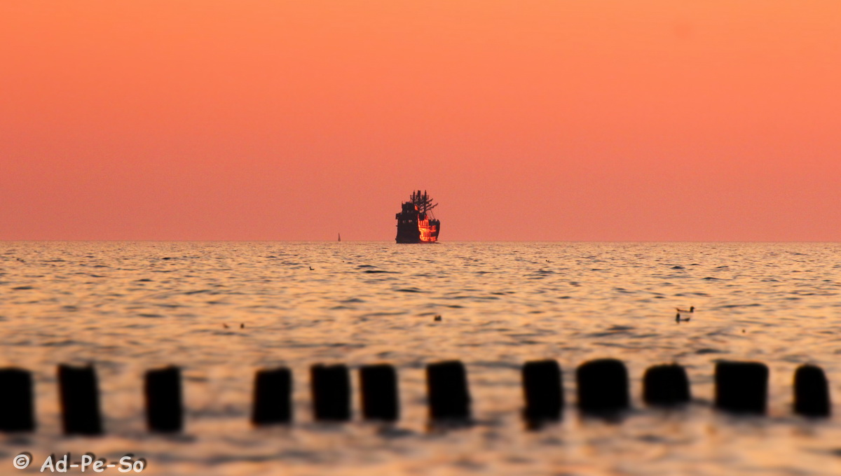 Ship in the sunset